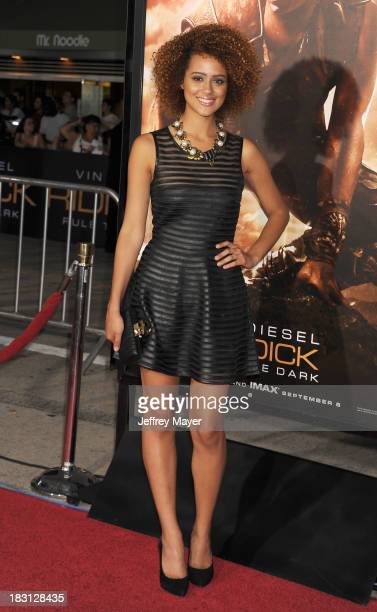 Actress Nathalie Emmanuel arrives at the Los Angeles premiere of 'Riddick' at the Westwood Village Theatre on August 28 2013 in Westwood California