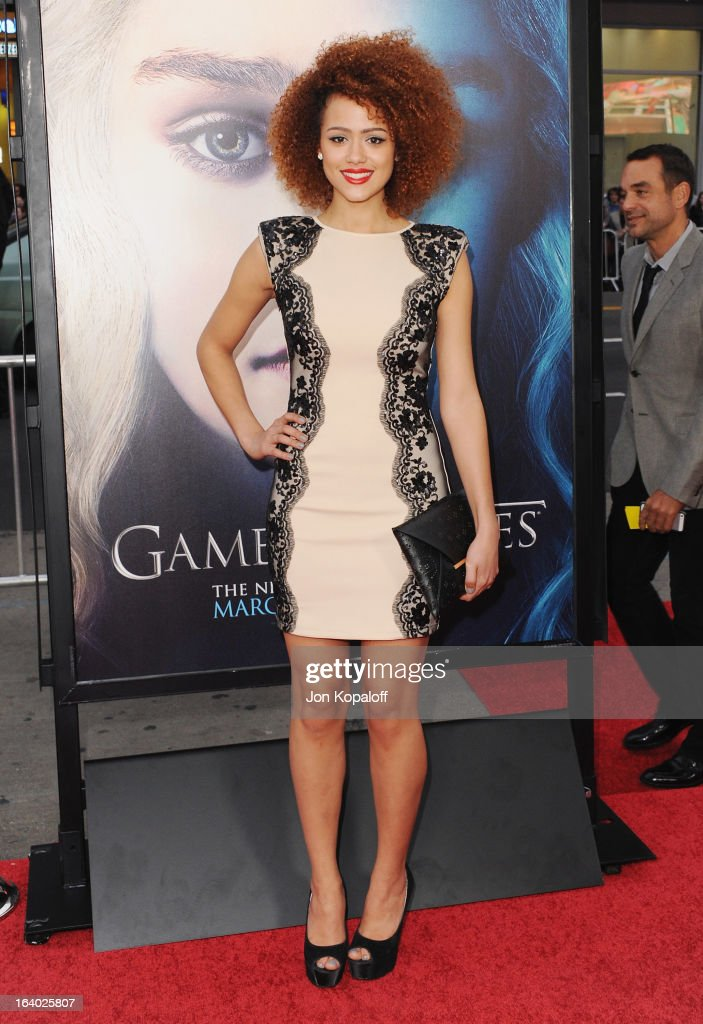 Actress Nathalie Emmanuel arrives at the Los Angeles Premiere of HBO's 'Game Of Thrones' Season 3 at TCL Chinese Theatre on March 18, 2013 in Hollywood, California.