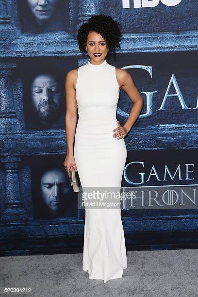 Actress Nathalie Emmanuel arrives at the premiere of HBO's 'Game of Thrones' Season 6 at the TCL Chinese Theatre on April 10 2016 in Hollywood...