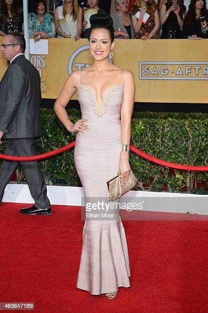 Actress Nathalie Emmanuel attends the 20th Annual Screen Actors Guild Awards at The Shrine Auditorium on January 18 2014 in Los Angeles California
