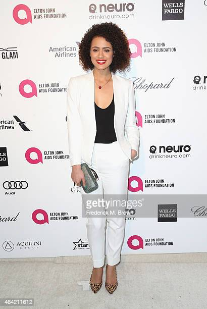Actress Nathalie Emmanuel attends the 23rd Annual Elton John AIDS Foundation's Oscar Viewing Party on February 22 2015 in West Hollywood California