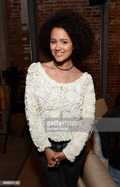 Actress Nathalie Emmanuel attends the Mortal Kombat X Tournament at The Microsoft Lounge on April 13 2015 in Venice California