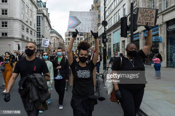 Actress Nathalie Emmanuel joined thousands of transgender people and their supporters marching through central London to Parliament Square to...