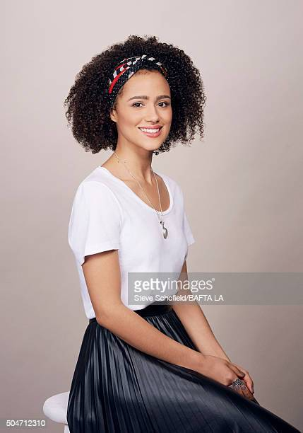 Actress Nathalie Emmanuel poses for a portrait at the BAFTA Los Angeles Awards Season Tea at the Four Seasons Hotel on January 9 2016 in Los Angeles...
