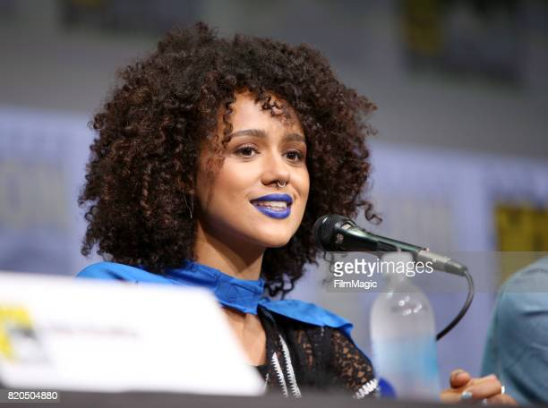 Actress Nathalie Emmanuel speaks at the 'Game of Thrones' panel with HBO at San Diego ComicCon International 2017 at San Diego Convention Center on...