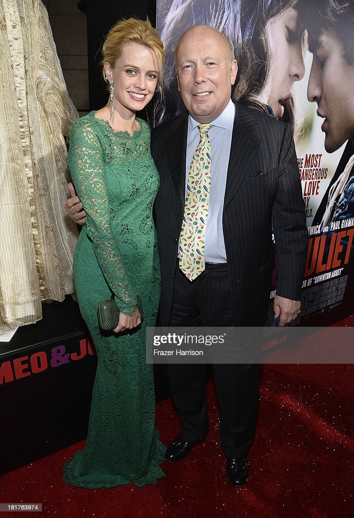 Actress Nathalie Rapti Gomez (L) and producer Julian Fellowes arrive at the premiere of Relativity Media's 'Romeo And Juliet' at ArcLight Cinemas on September 24, 2013 in Hollywood, California.