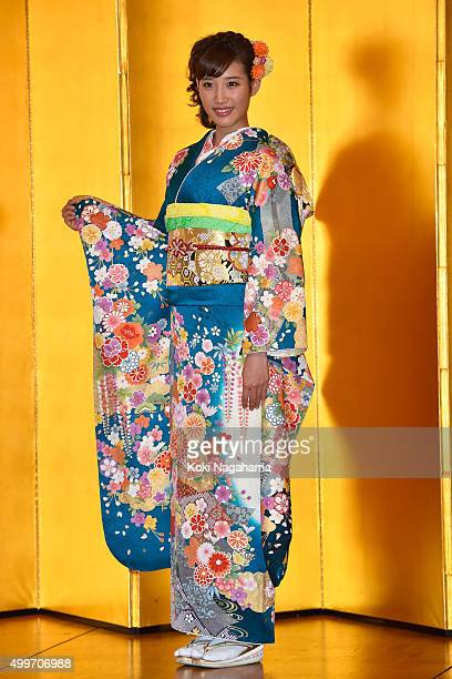 Actress Natsumi Hanaoka attends the New Year's Kimono photocall for Oscar Promotion on December 3 2015 in Tokyo Japan