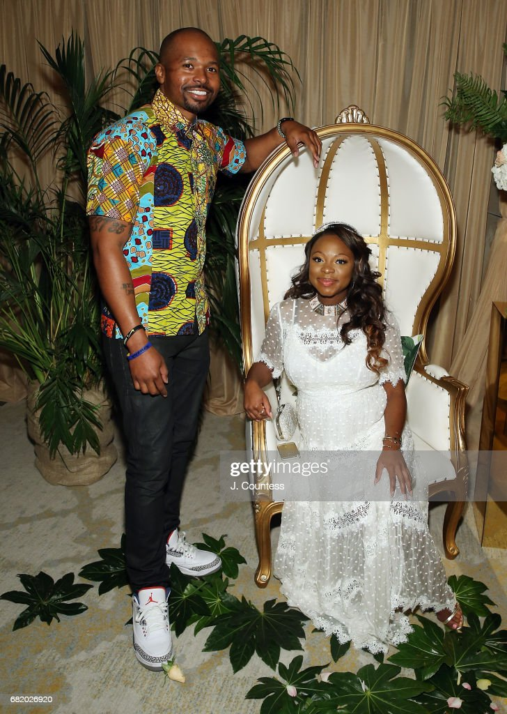 Actress Naturi Naughton (R) and partner Benjamin pose for a photo during her Baby Shower at The Dazzler Hotel on May 7, 2017 in the Brooklyn borough of New York City.