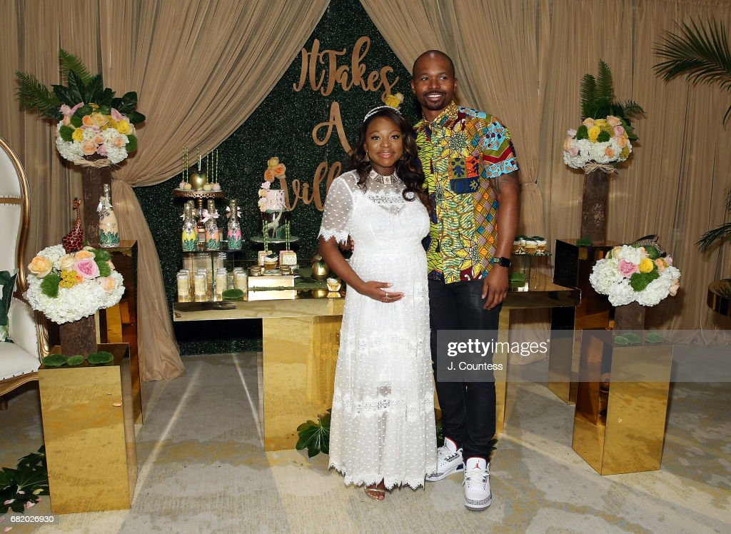 Actress Naturi Naughton and partner Benjamin pose for a photo during her Baby Shower at The Dazzler Hotel on May 7, 2017 in the Brooklyn borough of New York City.