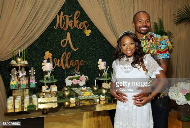 Actress Naturi Naughton and partner Benjamin pose for a photo during her Baby Shower at The Dazzler Hotel on May 7 2017 in the Brooklyn borough of...