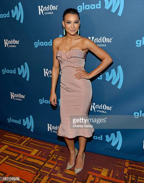 Actress Naya Rivera poses in the VIP Red Carpet Suite at the 24th Annual GLAAD Media Awards hosted by Ketel One at JW Marriott Los Angeles at LA LIVE...