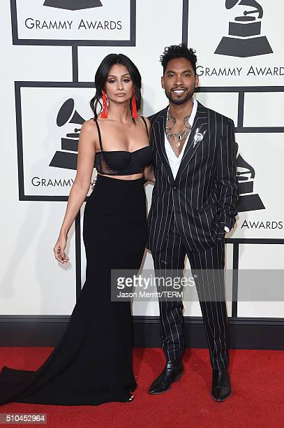 Actress Nazanin Mandi and singer Miguel attend The 58th GRAMMY Awards at Staples Center on February 15 2016 in Los Angeles California
