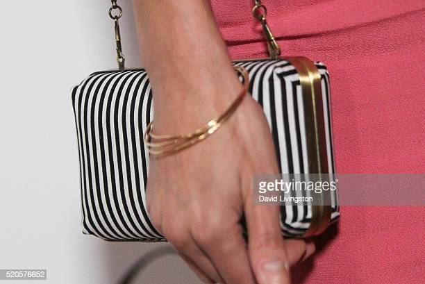 Actress Necar Zadegan purse detail arrives at the Marie Claire Fresh Faces Party at the Sunset Tower Hotel on April 11 2016 in West Hollywood...