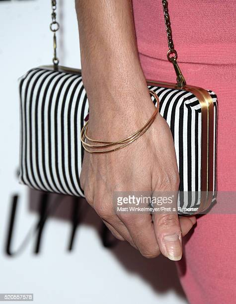 Actress Necar Zadegan purse detail attends the Fresh Faces party hosted by Marie Claire celebrating the May issue cover stars on April 11 2016 in Los...