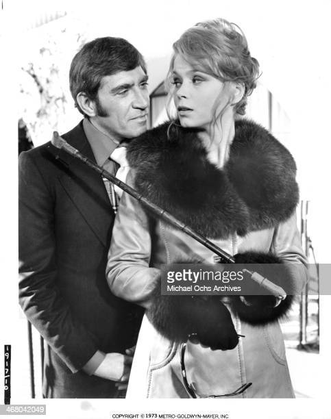 Actress Neda Arneric and actor Frank Finlay on set of the movie Shaft in Africa circa 1973
