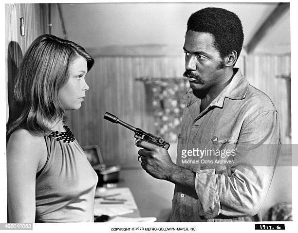 Actress Neda Arneric and actor Richard Roundtree on set of the movie Shaft in Africa circa 1973