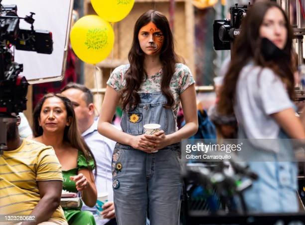 """Actress Nell Tiger Free is seen filming scenes on the set of Apple TV+ streaming series """"Servant"""" Season 3 on June 12, 2021 in Philadelphia,..."""
