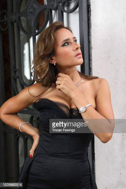 Actress Nelly Karim wears a JaegerLeCoultre watch on the grounds of San Clemente Palace Kempinski at the 75th Venice Film Festival at Hotel Excelsior...