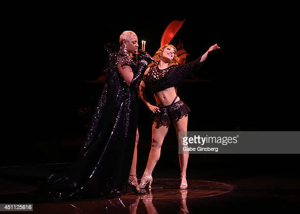 Actress NeNe Leakes and dancer Agnes Roux rehearse for their performance in 'Zumanity The Sensual Side of Cirque du Soleil' at the New YorkNew York...