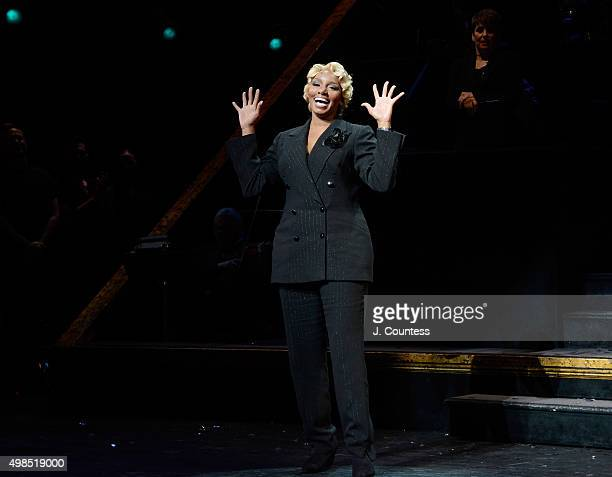 """Actress NeNe Leakes takes a bow during curtain call at her return to Broadway's """"Chicago"""" at Ambassador Theater on November 23, 2015 in New York City."""