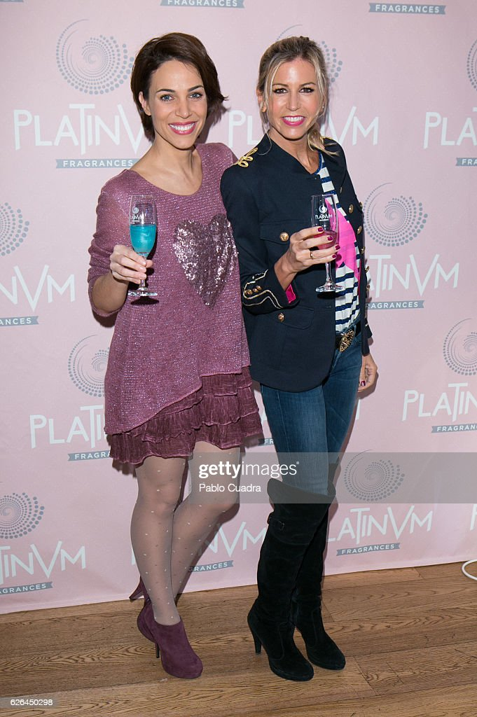 Actress Nerea Garmendia and Patricia Cerezo present Platinum Fragances drinks at Perrachica Restaurant on November 29, 2016 in Madrid, Spain.