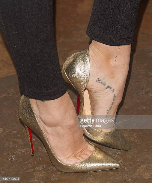 Actress Nerea Garmendia tattoo detail attends Maria Reyes' new album presentation photocall at Alegoria disco on February 16 2016 in Madrid Spain