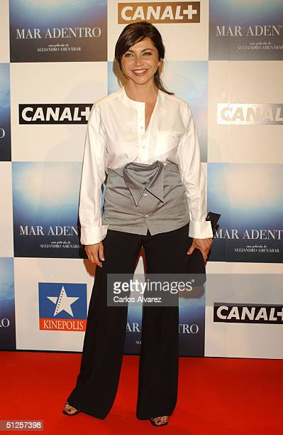 Actress Neus Asensi attends the premiere of the new film by director Alejandro Amenabar Mar Adentro at the Cinema Kinepolis on September 2 2004 in...