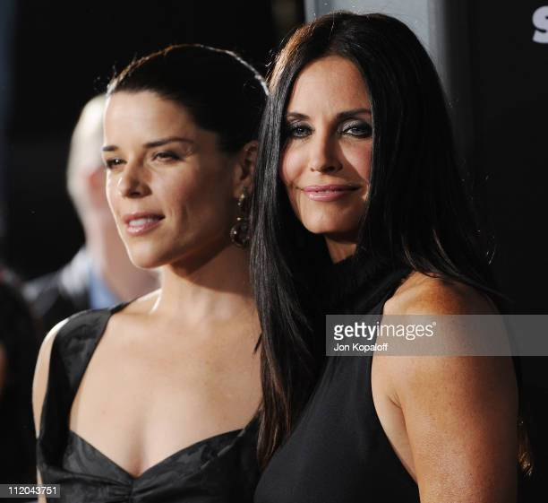 Actress Neve Campbell and actress Courteney Cox arrive at the Los Angeles Premiere Scream 4 at Grauman's Chinese Theatre on April 11 2011 in...