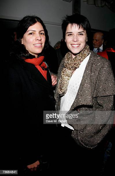 Actress Neve Campbell and guest attend the a fundraiser party for the Almeida Theatre at the Almeida Theatre on March 23 2007 in London England
