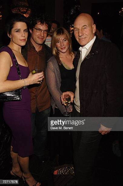 Actress Neve Campbell and her partner friend Lisa Dillon and Actor Patrick Stewart attend the after party following the press night of Love Song at...
