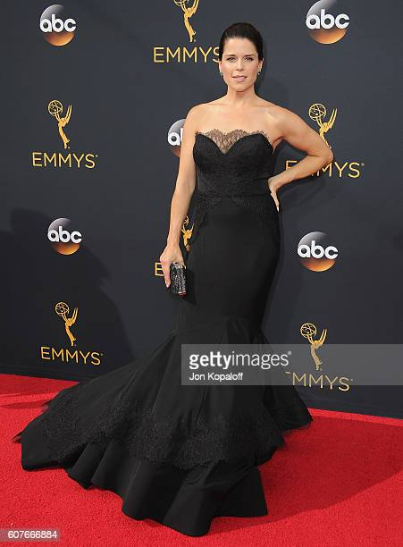 Actress Neve Campbell arrives at the 68th Annual Primetime Emmy Awards at Microsoft Theater on September 18 2016 in Los Angeles California