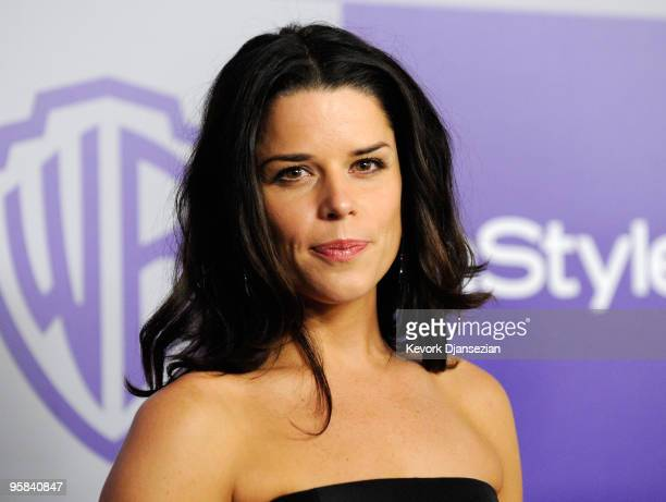 Actress Neve Campbell arrives at the InStyle and Warner Bros 67th Annual Golden Globes after party held at the Oasis Courtyard at The Beverly Hilton...