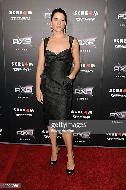 Actress Neve Campbell arrives at the premiere of the Weinstein Company's Scream 4 Presented by AXE Shower at Grauman's Chinese Theatre on April 11...