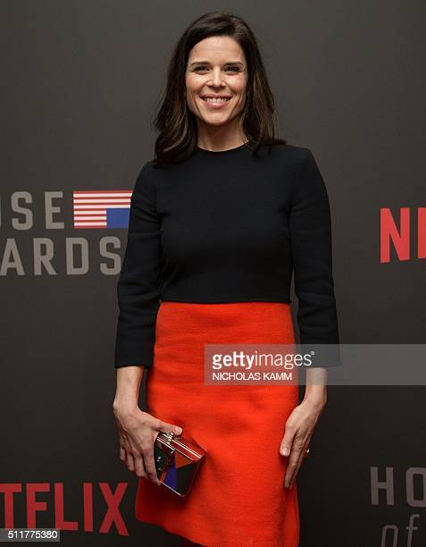 Actress Neve Campbell arrives at the season 4 premiere screening of the Netflix show 'House of Cards' in Washington DC on February 22 2016 / AFP /...