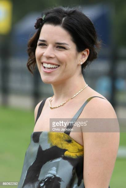 Actress Neve Campbell at the Cartier tent for Cartier International Polo Day 2009 at Guards Polo Club on July 26 2009 in Egham England