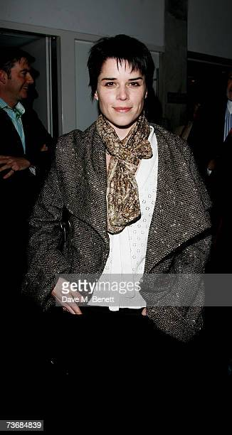 Actress Neve Campbell attends the a fundraiser party for the Almeida Theatre at the Almeida Theatre on March 23 2007 in London England