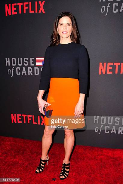 Actress Neve Campbell attends the 'House Of Cards' Season 4 Premiere at the National Portrait Gallery on February 22 2016 in Washington DC