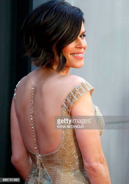 US actress Neve Campbell attends the premiere of 'Skyscraper' on July 10 2018 in New York City