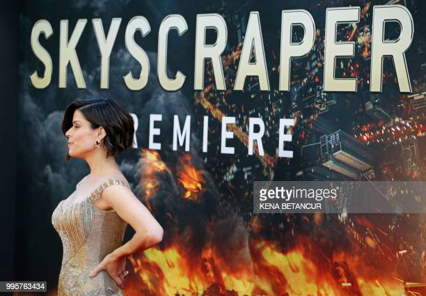 US actress Neve Campbell attends the premiere of Skyscraper on July 10 2018 in New York City