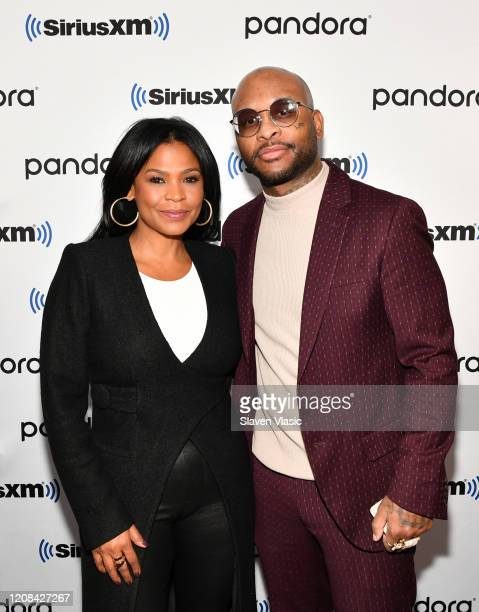 Actress Nia Long and rapper Royce da 5'9 visit SiriusXM Studios on February 24 2020 in New York City