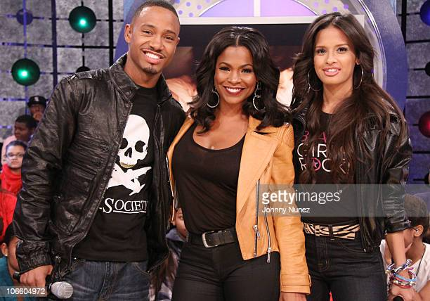 Actress Nia Long visits BET's 106 Park with hosts Rocsi and Terrence J at BET Studios on November 5 2010 in New York City