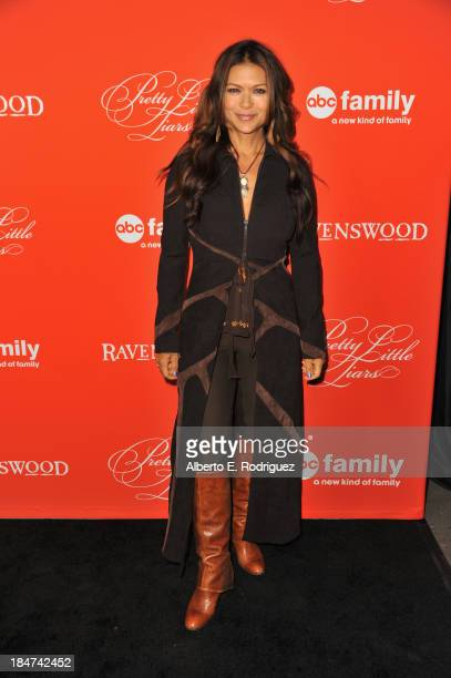 Actress Nia Peeples attends a screening of ABC Family's Pretty Little Liars Halloween episode at Hollywood Forever Cemetery on October 15 2013 in...