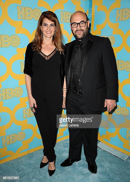 Actress Nia Vardalos and actor Ian Gomez attend HBO's post Golden Globe Awards party at The Beverly Hilton Hotel on January 11 2015 in Beverly Hills...