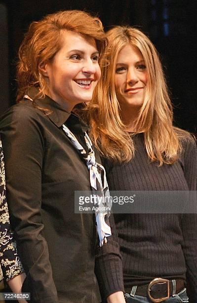 Actress Nia Vardalos and Jennifer Aniston take a curtain call onstage at the 6th Annual 24 Hour Plays on Broadway to benefit the Working Playground...