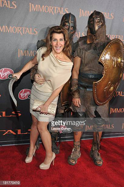 Actress Nia Vardalos arrives at Immortals 3D at Nokia Theatre LA Live on November 7 2011 in Los Angeles California