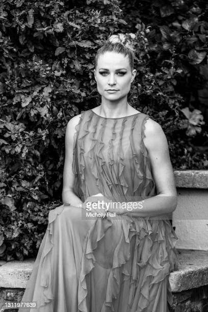 "Actress Niamh Algar nominated for best actress in a supporting role for ""Calm With Horses"" poses in her award show look for the the EE British..."