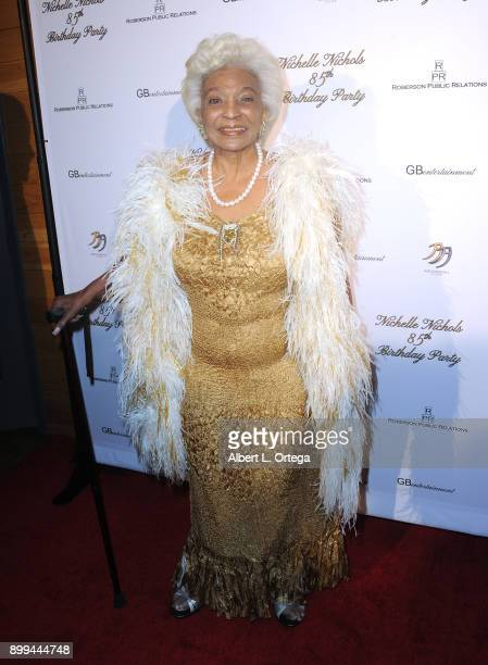 Actress Nichelle Nichols arrives for her 85th birthday celebration held at La Piazza/The Grove on December 28 2017 in Los Angeles California