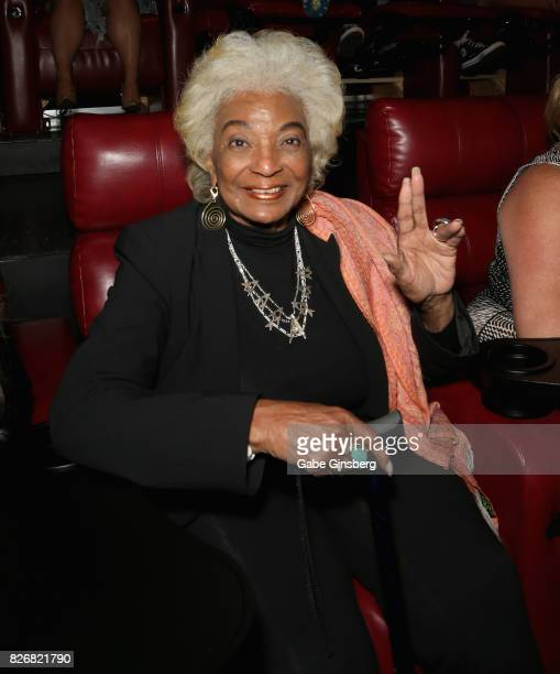 Actress Nichelle Nichols attends a screening of the science fiction spoof film 'Unbelievable' at the Brenden Theatres inside Palms Casino Resort on...