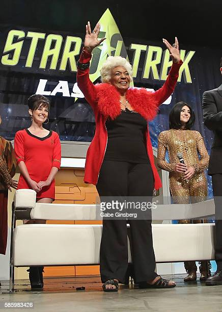 Actress Nichelle Nichols extends her arms with a live long and prosper gesture from the Star Trek television franchise during the Tribute to Nichelle...