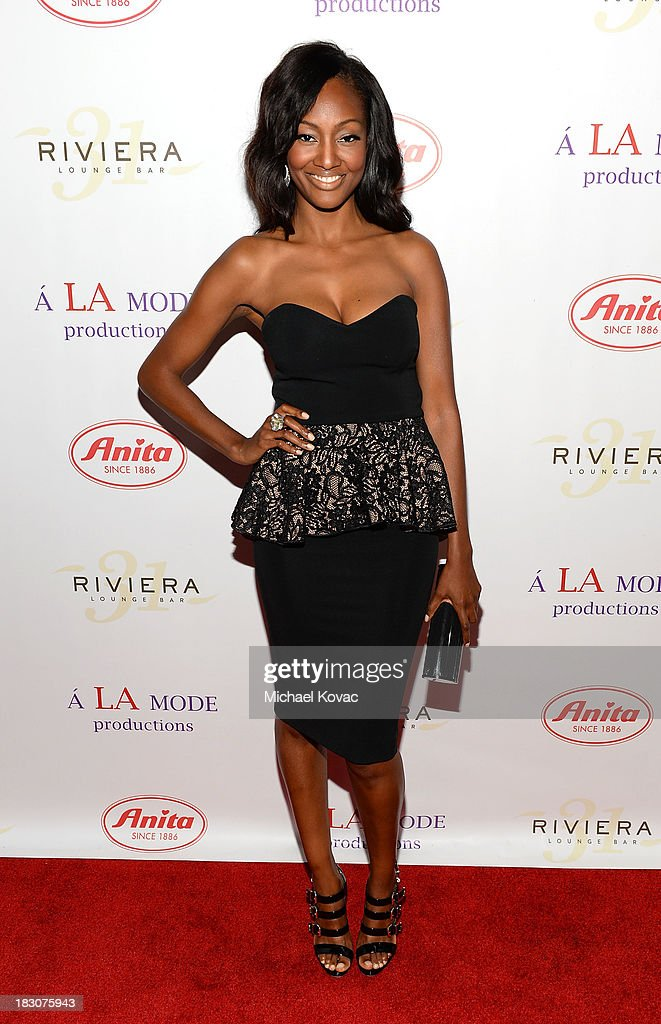 Actress Nichole Galicia arrives for A la mode Productions Presents Designers Night Out at Sofitel Hotel on October 3, 2013 in Los Angeles, California.